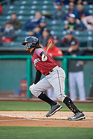 Aramis Garcia (49) of the Sacramento River Cats bats against the Salt Lake Bees at Smith's Ballpark on April 12, 2019 in Salt Lake City, Utah. The River Cats defeated the Bees 4-2. (Stephen Smith/Four Seam Images)