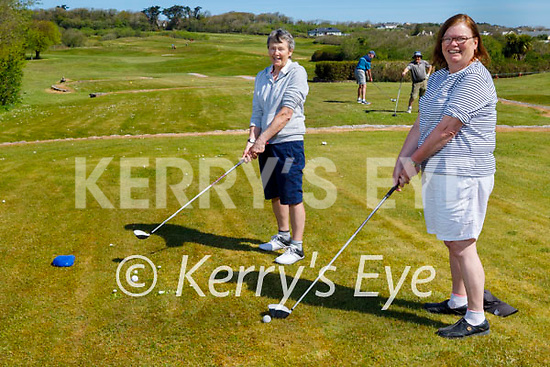Ready to tee off on the Ballyheigue Golf course on the reopening of the Golf Club on Monday. Front right: Helen Crowley (Abbeydorney) with Ann Leahy (Causeway).