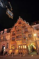 Europe/France/Alsace/68/Haut-Rhin/Colmar : Maison des têtes - Maison du 17 e siecle  Vue nocturne