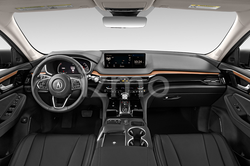 Stock photo of straight dashboard view of 2022 Acura MDX - 5 Door SUV Dashboard