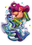 Illustration of Aquarius zodiac sign over white background