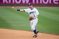 Winston-Salem Dash second baseman Jake Peter (3) makes a throw to first base against the Myrtle Beach Pelicans at BB&T Ballpark on May 10, 2015 in Winston-Salem, North Carolina.  The Pelicans defeated the Dash 4-3.  (Brian Westerholt/Four Seam Images)
