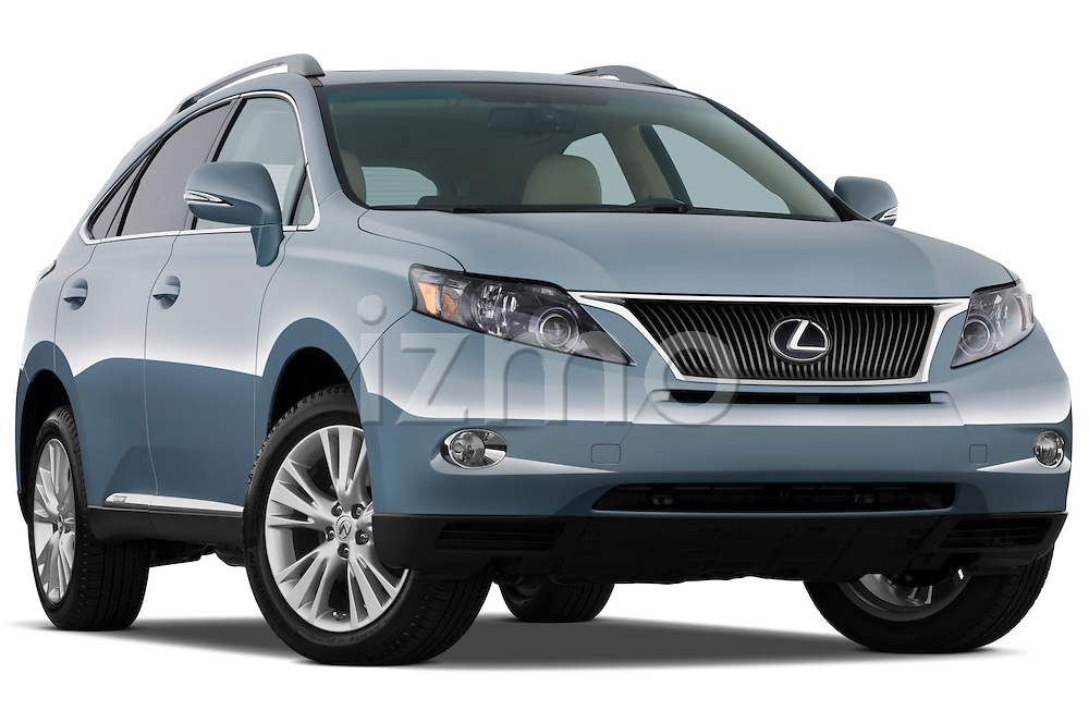 Low aggressive passenger side front three quarter view of a 2010 Lexus RX 450h.