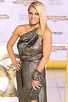 LOS ANGELES, CA, USA - NOVEMBER 17: Jessica Simpson arrives at the Los Angeles Premiere Of Lionsgate's 'The Hunger Games: Mockingjay, Part 1' held at Nokia Theatre L.A. Live on November 17, 2014 in Los Angeles, California, United States. (Photo by Rudy Torres/Celebrity Monitor)