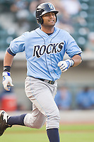 Ernesto Mejia #47 of the Wilmington Blue Rocks hustles down the first base line against the Winston-Salem Dash at  BB&T Ballpark August 4, 2010, in Winston-Salem, North Carolina.  Photo by Brian Westerholt / Four Seam Images