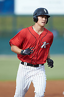 Cameron Simmons (45) of the Kannapolis Intimidators rounds the bases after hitting a home run against the Lexington Legends at Kannapolis Intimidators Stadium on August 4, 2019 in Kannapolis, North Carolina. The Legends defeated the Intimidators 5-1. (Brian Westerholt/Four Seam Images)
