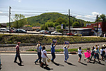 May 4, 2008. Marion, NC.. Just 2 days before the North Carolina primary, former president Bill Clinton campaigned across rural western North Carolina, stumping for his wife. Senator Hillary Clinton, in her drive for rural and working class votes.. Supporters cheer as they are let into the rally area.