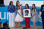 Queen Letizia and Candela, Mariona and Daniela, of 'Pulseras Candela' attends to UNICEF Awards 2017 in Madrid, June 13, 2017. Spain.<br /> (ALTERPHOTOS/BorjaB.Hojas)