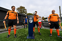 referees Thomas Sanders , Bjorn Dewulf and Andy Vermeulen pictured taking the ball from the Super League ball holder before a female soccer game between Club Brugge Dames YLA and Zulte Waregem Ladies on the third matchday of the 2020 - 2021 season of Belgian Scooore Womens Super League , saturday 3 October 2020  in Brugge , Belgium . PHOTO SPORTPIX.BE | SPP | DAVID CATRY