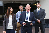 Pictured: DCI Rob Conick of South Wales Police (3rd L)with  DC Sue Davies (L) and other colleagues, reads a statement on the steps of Swansea Crown Court.<br />Re: A man who stabbed to death his victim in a drug debt dispute has been jailed for 9 years by Swansea Crown Court. <br />Marcus Sheppard was killed by Nicholas Sloots when he and another man, Christopher Evans — who Sloots owed £2,000 to £3,000 — visited the flat in Dalton Road, Port Talbot , where Sloots was staying.<br />Swansea Crown Court heard that Mr Sheppard's long-term partner was pregnant with their third child, and that he earned good money as a steelworker.<br />But in the month before his killing a suspected tumour was discovered in his neck, with the initial findings pointing to cancer.