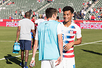 CARSON, CA - FEBRUARY 1: Sam Vines #13 Brandon Servania #16 celebrates with Sebastian Lletget #17 of the United States after the match during a game between Costa Rica and USMNT at Dignity Health Sports Park on February 1, 2020 in Carson, California during a game between Costa Rica and USMNT at Dignity Health Sports Park on February 1, 2020 in Carson, California.