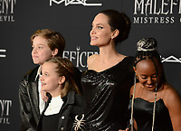 """LOS ANGELES, USA. September 30, 2019: Angelina Jolie & children at the world premiere of """"Maleficent: Mistress of Evil"""" at the El Capitan Theatre.<br /> Picture: Jessica Sherman/Featureflash"""