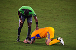 Forward Andre-Pierre Gignac of Tigres UANL (MEX) lies on the field after being tacked by a player of New York City FC (USA) during their CONCACAF Champions League Quarter Finals match at the Orlando's Exploria Stadium on 15 December 2020, in Florida. Photo by Victor Fraile / Power Sport Images