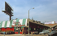 Googies: Johnie's Coffee Shop, NW Corner Fairfax & Wilshire, Los Angeles, 1950's.