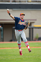 Johnson City Cardinals third baseman Allen Staton (40) makes a throw to first base against the Bristol Pirates at Boyce Cox Field on July 7, 2015 in Bristol, Virginia.  The Cardinals defeated the Pirates 4-1 in game one of a double-header. (Brian Westerholt/Four Seam Images)