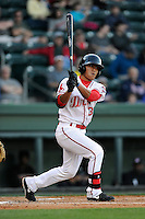 Infielder/shortstop Tzu-Wei Lin (36) of the Greenville Drive bats in a game against the Kannapolis Intimidators on Thursday, April 10, 2014, at Fluor Field at the West End in Greenville, South Carolina. Lin is the No. 28 prospect of the Boston Red Sox, according to Baseball America. Greenville won, 7-6. (Tom Priddy/Four Seam Images)