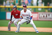 Buffalo Bisons first baseman Matt Hague (16) during a game against the Columbus Clippers on July 19, 2015 at Coca-Cola Field in Buffalo, New York.  Buffalo defeated Columbus 4-3 in twelve innings.  (Mike Janes/Four Seam Images)