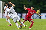 Sean Ka Keung Tse (R) of Wofoo Tai Po fights for the ball with Ignacio Martinez Trueba (L) of Dreams FC  during the Dreams FC vs Wofoo Tai Po match of the week one Premier League match at the Aberdeen Sports Ground on 26 August 2017 in Hong Kong, China. Photo by Yu Chun Christopher Wong / Power Sport Images