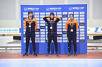 SPEEDSKATING: SALT LAKE CITY: Utah Olympic Oval, 09-03-2019, ISU World Cup Finals, Podium 1000m Men, Thomas Krol (NED), Kjeld Nuis (NED), Kai Verbij (NED), ©Martin de Jong