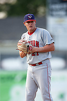 Auburn Doubledays starting pitcher Matthew DeRosier (21) gets ready to deliver a warmup pitch during a game against the Batavia Muckdogs on June 19, 2017 at Dwyer Stadium in Batavia, New York.  Batavia defeated Auburn 8-2 in both teams opening game of the season.  (Mike Janes/Four Seam Images)