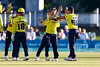 Liam Dawson (2nd R) of Hampshire is congratulated after taking the wicket of Joe Denly during Kent Spitfires vs Hampshire Hawks, Vitality Blast T20 Cricket at The Spitfire Ground on 9th June 2021