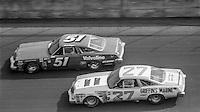 A.J. Foyt, #51 Oldsmobile, Benny Parsons, #27 Oldsmobile, 1979 Firecracker 400 NASCAR race, Daytona International Speedway, Daytona Beach, FL, July 4, 1979.  (Photo by Brian Cleary/ www.bcpix.com )