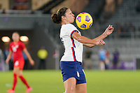 ORLANDO CITY, FL - FEBRUARY 18: Carli Lloyd #10 of the United States traps the ball during a game between Canada and USWNT at Exploria Stadium on February 18, 2021 in Orlando City, Florida.