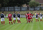 Vale of Leven 3 Ashfield 4, 03/09/2016. Millburn Park, West of Scotland League Central District Second Division. An altercation between players during the second-half action at Millburn Park, Alexandria, as Vale of Leven (in blue) hosted Ashfield in a West of Scotland League Central District Second Division Junior fixture. Vale of Leven were one of the founder members of the Scottish League in 1890 and remained part of the SFA and League structure until 1929 when the original club folded, only to be resurrected as a member of the Scottish Junior Football Association after World War II. They lost the match to Ashfield by 4-3, having led 3-1 with 10 minutes remaining. Photo by Colin McPherson.