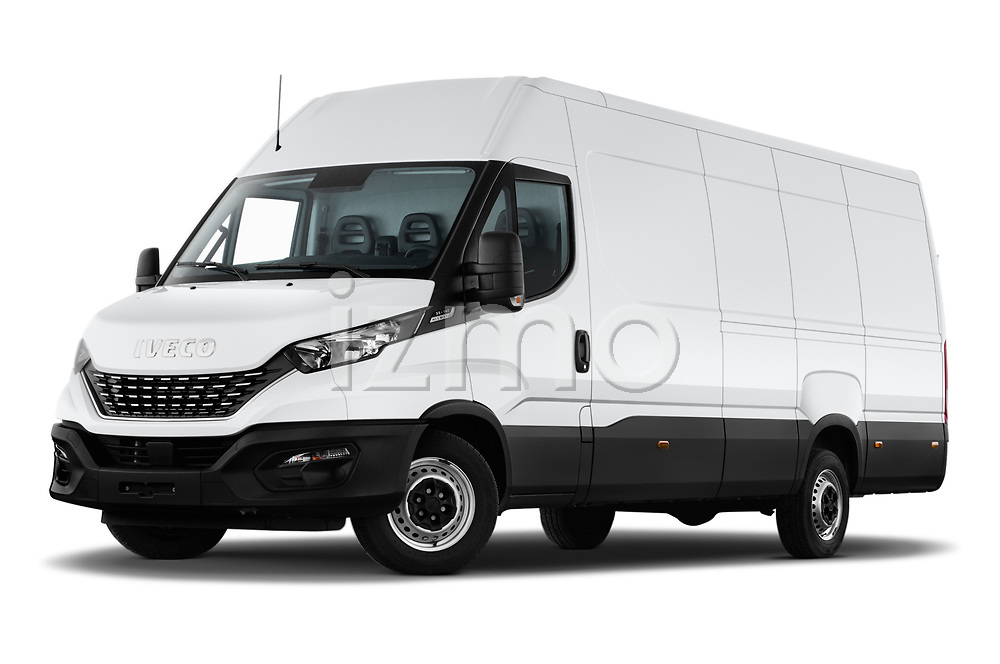 Stock pictures of low aggressive front three quarter view of 2021 Iveco Daily - 4 Door Cargo Van Low Aggressive