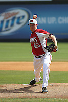 Carolina Mudcats pitcher Brett Brach #38 pitching during a game against the Lynchburg Hillcats at Five County Stadium on April 26, 2012 in Zebulon, North Carolina. Carolina defeated Lynchburg by the score of 8-5. (Robert Gurganus/Four Seam Images)