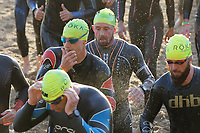 Pictured: Former Wales International rugby player Shane Williams (TOP CENTRE). Sunday 15 September 2019<br /> Re: Ironman triathlon event in Tenby, Wales, UK.