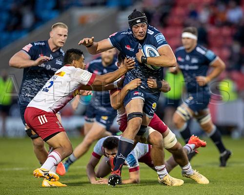 4th June 2021; AJ Bell Stadium, Salford, Lancashire, England; English Premiership Rugby, Sale Sharks versus Harlequins; JP du Preez of Sale Sharks is tackled