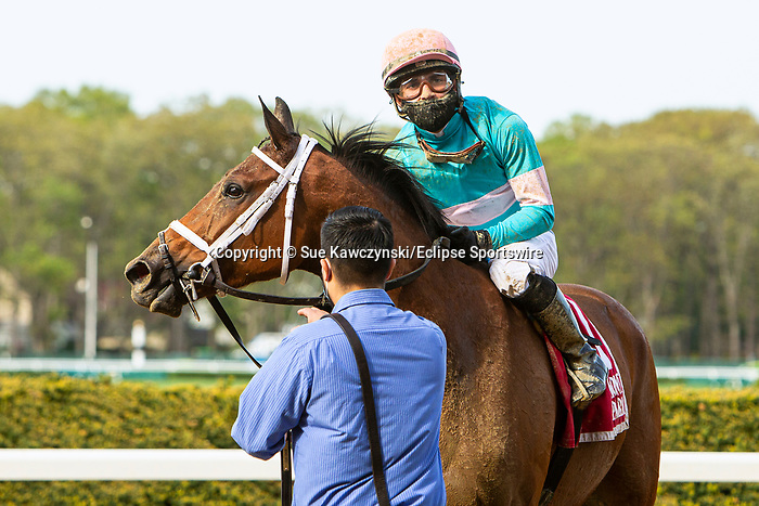 MAY 02, 2021 : Vault with Joel Rosario aboard, wins the Gr 2  Ruffian Stakes, for fillies & mares going 1  mile, at Belmont Park, Elmont, NY. Sue Kawczynski-Eclipse Sportswire-CSM