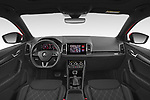 Stock photo of straight dashboard view of 2020 Skoda Karoq Sport-Line 5 Door SUV Dashboard