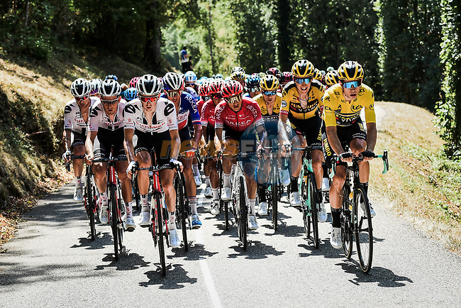 The peloton led by race leader Wout Van Aert (BEL) and Team Jumbo-Visma during Stage 2 of Criterium du Dauphine 2020, running 135km from Vienne to Col de Porte, France. 13th August 2020.<br /> Picture: ASO/Alex Broadway | Cyclefile<br /> All photos usage must carry mandatory copyright credit (© Cyclefile | ASO/Alex Broadway)