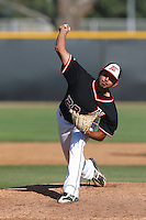 Anthony Cortez #28 of the Cal State Northridge Matadors pitches against the UC Santa Barbara Gauchos at Matador Field on May 10, 2013 in Northridge, California. UC Santa Barbara defeated Cal State Northridge, 6-1. (Larry Goren/Four Seam Images)