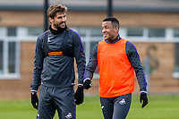 Tuesday 17 January 2017<br /> Pictured: ( L-R )  Fernando Llorente and Matrin Olsson of Swansea City chat during training<br /> Re:Swansea City training session at the Fairwood Training ground, Fairwood, Swansea, Wales, UK