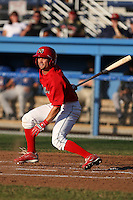Batavia Muckdogs outfielder Adam Melker (15) during a game vs. the Auburn Doubledays at Dwyer Stadium in Batavia, New York July 2, 2010.   Batavia defeated Auburn 6-3.  Photo By Mike Janes/Four Seam Images