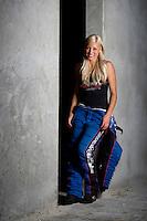 Jun. 20, 2011; Bristol, TN, USA: NHRA driver Leah Pruett-LeDuc poses for a portrait at Bristol Dragway. Mandatory Credit: Mark J. Rebilas-