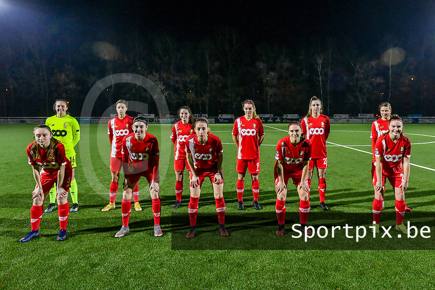Team picture Standard CL ( Goalkeeper Lisa Lichtfus (16) of Standard , Maurane Marinucci (7) of Standard , Constance Brackman (20) of Standard , Sylke Calleeuw (9) of Standard , Sophie Cobussen (22) of Standard , Aster Janssens (5) of Standard and Gwyneth Vanaenrode (3) of Standard , Noemie Gelders (10) of Standard , Charlotte Cranshoff (18) of Standard , Elien Nelissen (15) of Standard , Davinia Vanmechelen (25) of Standard ) before a female soccer game between  Racing Genk Ladies and Standard Femina on the 13 th matchday of the 2020 - 2021 season of Belgian Scooore Womens Super League , friday 5 th of february 2021  in Genk , Belgium . PHOTO SPORTPIX.BE | SPP | STIJN AUDOOREN