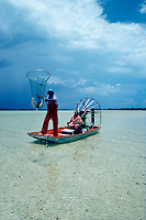 Dr. Samuel H. Gruber (U. Miami) drives airboat while assistant Bob Jureit nets small lemon sharks, Negaprion brevirostris, for research, Bimini Lagoon, Bahamas, Caribbean Sea, Atlantic Ocean