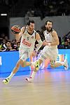 Real Madrid´s Rudy Fernandez and Sergio Rodriguez during 2014-15 Euroleague Basketball Playoffs second match between Real Madrid and Anadolu Efes at Palacio de los Deportes stadium in Madrid, Spain. April 17, 2015. (ALTERPHOTOS/Luis Fernandez)