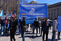 Washington, DC - March 16, 2019: Protesters gather near the White House in Washington, D.C. March 16, 2019, to support independence for East Turkistan.  (Photo by Don Baxter/Media Images International)