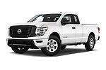 Stock pictures of low aggressive front three quarter view of 2021 Nissan Titan S 4 Door Pick-up Low Aggressive