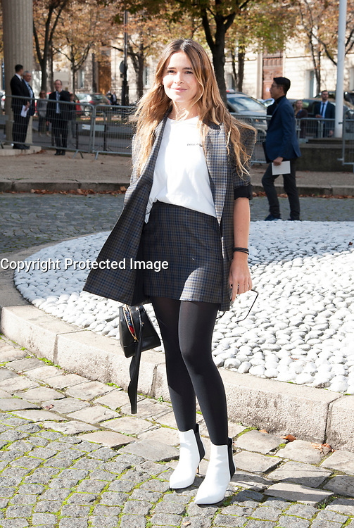 October 3 2017, PARIS FRANCE the Miu Miu<br /> Show at the Paris Fashion Week Spring Summer 2017/2018. Miroslava Duma arrives<br /> at the show.