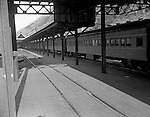 Pittsburgh PA: View of railroad passenger cars at the Pennsylvania Railroad Station in Pittsburgh.