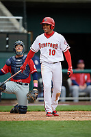 Harrisburg Senators left fielder Juan Soto (10) at bat in front of catcher Ryan Hissey (20) during the first game of a doubleheader against the New Hampshire Fisher Cats on May 13, 2018 at FNB Field in Harrisburg, Pennsylvania.  New Hampshire defeated Harrisburg 6-1.  (Mike Janes/Four Seam Images)