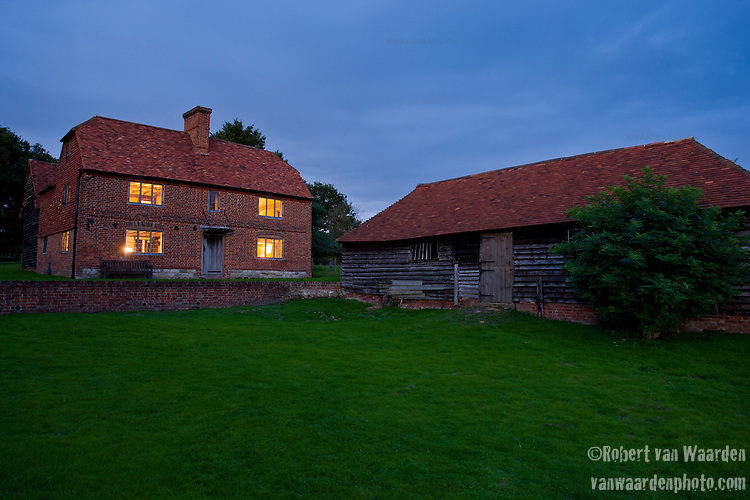 Exterior of Obriss Farm at dusk. Obriss Farm is a building near Westerham, Kent,  belonging to the Landmark Trust, a United Kingdom building preservation charity that rescues historic buildings at risk and gives them a new life as places to stay in and experience.