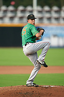 Down East Wood Ducks pitcher Sal Mendez (25) during a Carolina League game against the Fayetteville Woodpeckers on August 13, 2019 at SEGRA Stadium in Fayetteville, North Carolina.  Fayetteville defeated Down East 5-3.  (Mike Janes/Four Seam Images)