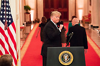 President Donald J. Trump gestures with a fist pump Monday, Oct. 8, 2018, at the conclusion of the swearing-in ceremony for newly sworn-in U.S. Supreme Court Associate Justice Brett M. Kavanaugh in the East Room of the White House in Washington, D.C. (Official White House Photo by Joyce N. Boghosian)